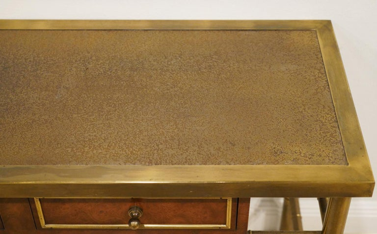 Midcentury Mastercraft Bamboo Style Brass and Burled Walnut Console Table In Good Condition In Ft. Lauderdale, FL