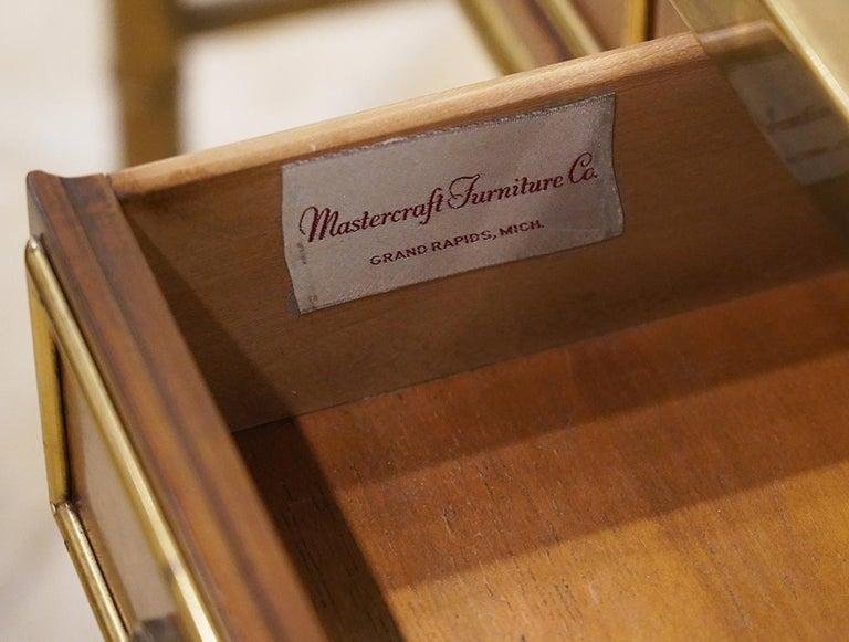 20th Century Midcentury Mastercraft Bamboo Style Brass and Burled Walnut Console Table