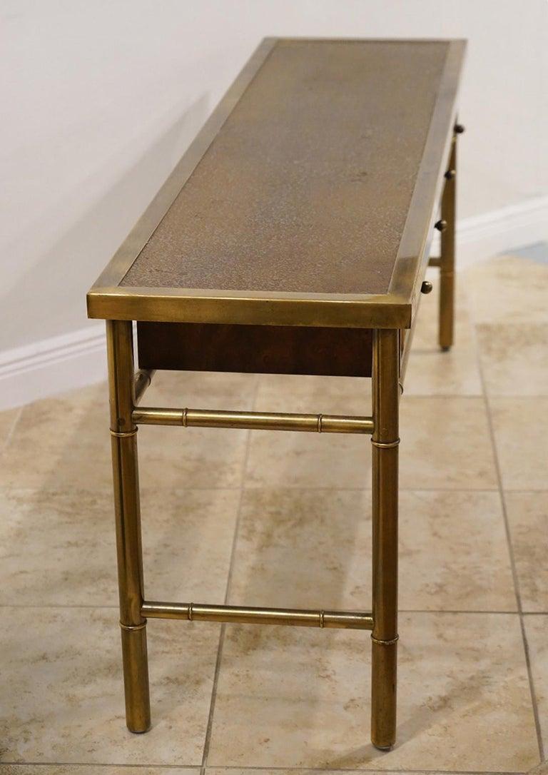 Midcentury Mastercraft Bamboo Style Brass and Burled Walnut Console Table 1