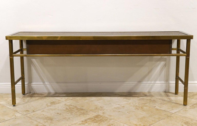 Midcentury Mastercraft Bamboo Style Brass and Burled Walnut Console Table 3
