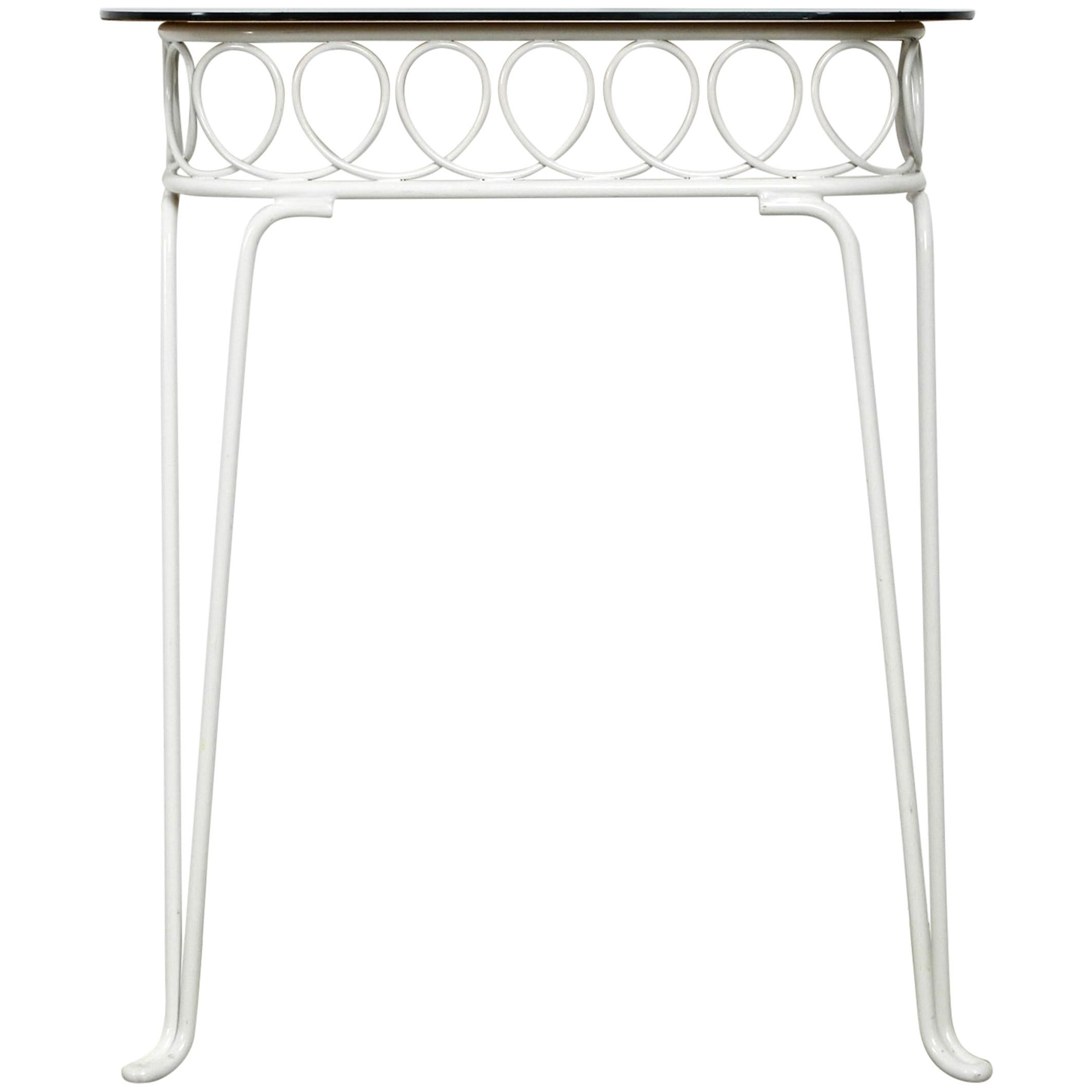 Midcentury Matal Wall Console Table with Glass Shelf, Münchner Boulevard Möbel