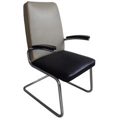 Midcentury Mauser Armchair with Original Leatherette Grey and Black