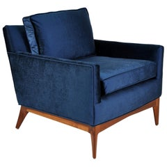 Mid-Century McCobb Style Walnut and Blue Velvet Lounge Chair