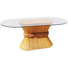 Midcentury McGuire Bamboo Cane Dining Table or Console