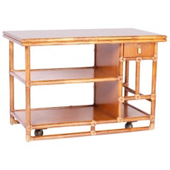Midcentury McGuire Faux Bamboo Bar Cart