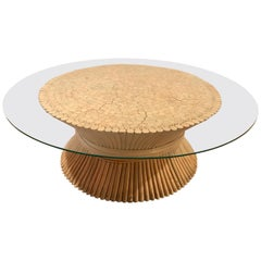 Mid Century McGuire Round Bamboo Wheat Sheaf Glass Coffee Table