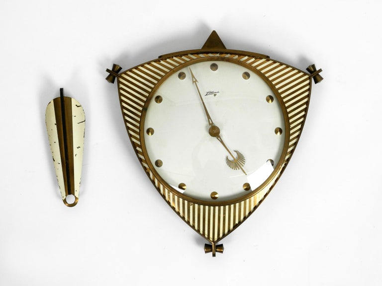 Mid-Century Modern Midcentury Mechanical Atlanta Wall Clock with 10 Days Movement and with Gong For Sale