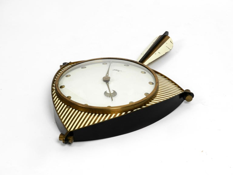 German Midcentury Mechanical Atlanta Wall Clock with 10 Days Movement and with Gong For Sale