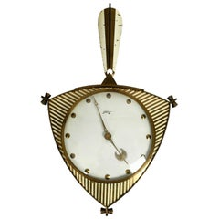 Midcentury Mechanical Atlanta Wall Clock with 10 Days Movement and with Gong