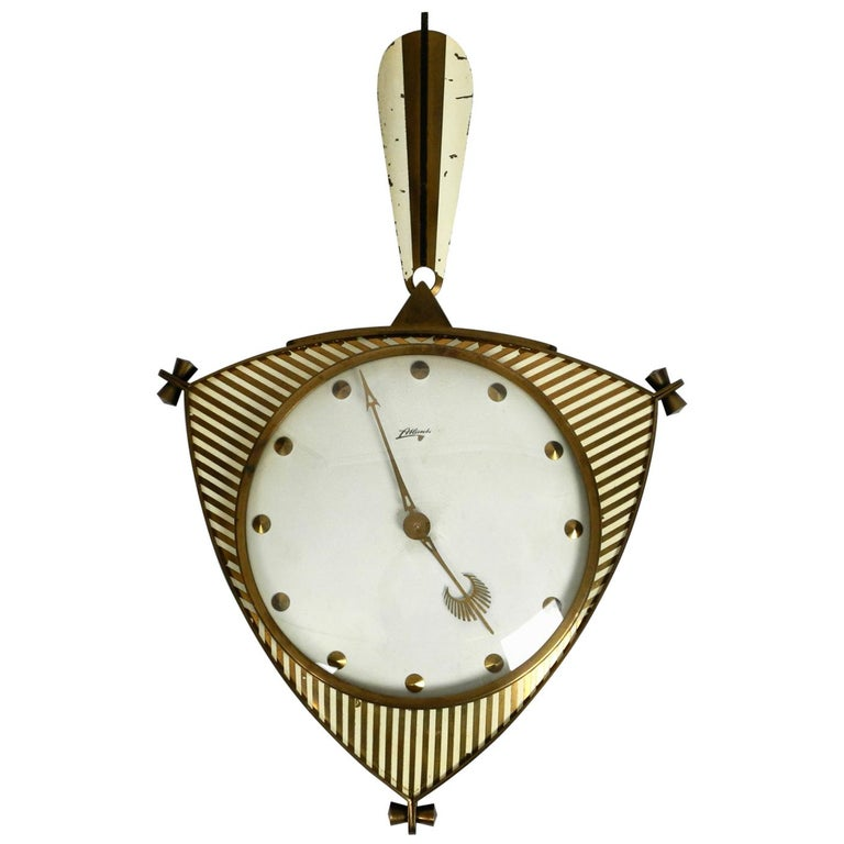 Midcentury Mechanical Atlanta Wall Clock with 10 Days Movement and with Gong For Sale