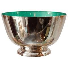 Mid-Century Medium Teal Blue Enamel Lined Sterling Silver Bowl