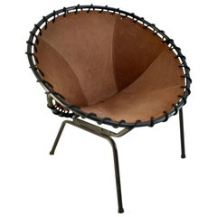 Midcentury Metal Basket Shaped Lounge Chair with Brushed Leather Seat, 1960s