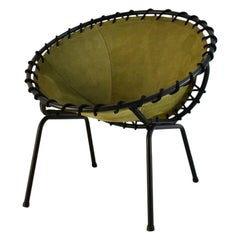 Midcentury Metal Basket Shaped Lounge Chair with Brushed Leather Seat, 1970s