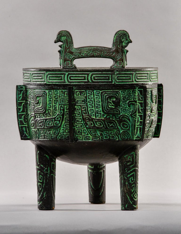 Mid-Century Modern Mid Century Metal Chinese Style Lidded Vessel in Manner of James Mont For Sale