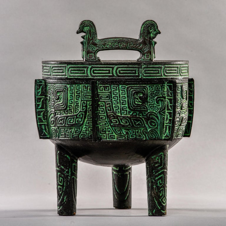 Cast Mid Century Metal Chinese Style Lidded Vessel in Manner of James Mont For Sale