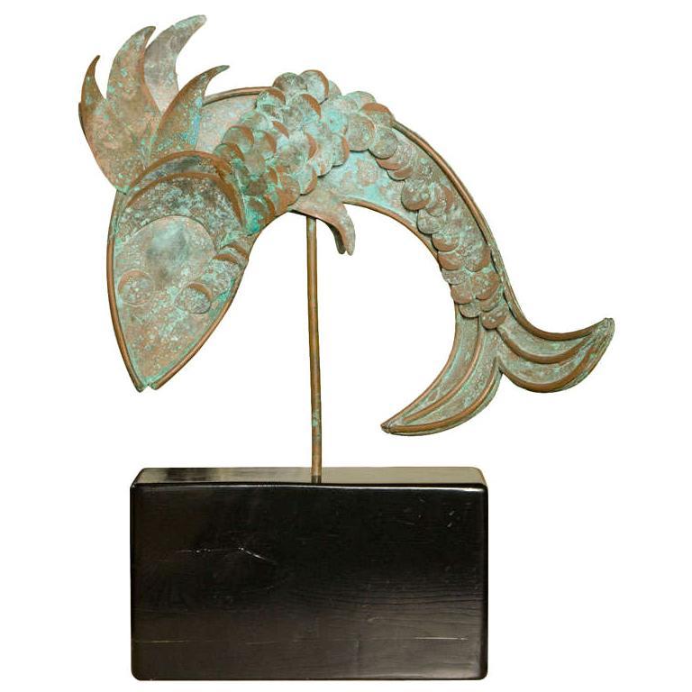 Mid-Century Metal Fish Sculpture For Sale