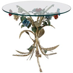 Midcentury Metal Floral Base Round Coffee Table