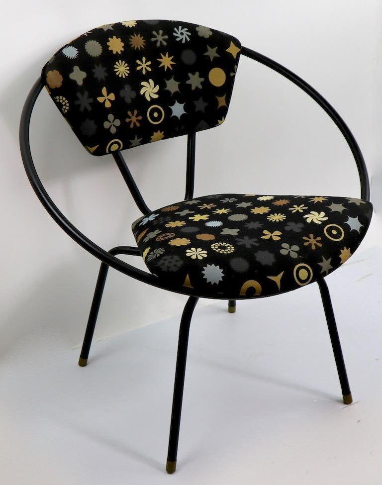 Mid Century Metal Hoop Swivel Chair With Stylish