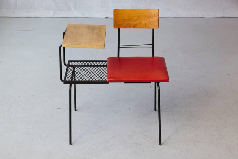 Mid-Century Modern Midcentury Metal Wire Telephone Table and Bench for Left or Right Hand Position For Sale