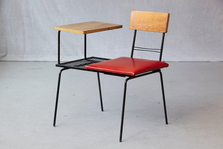 American Midcentury Metal Wire Telephone Table and Bench for Left or Right Hand Position For Sale