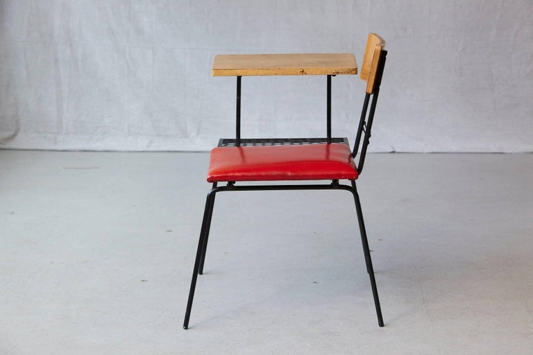 Midcentury Metal Wire Telephone Table and Bench for Left or Right Hand Position In Good Condition For Sale In Westport, CT
