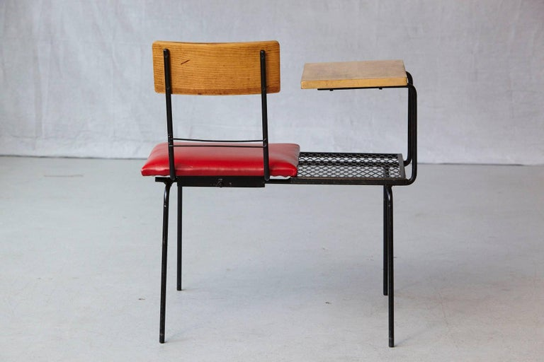 Wood Midcentury Metal Wire Telephone Table and Bench for Left or Right Hand Position For Sale