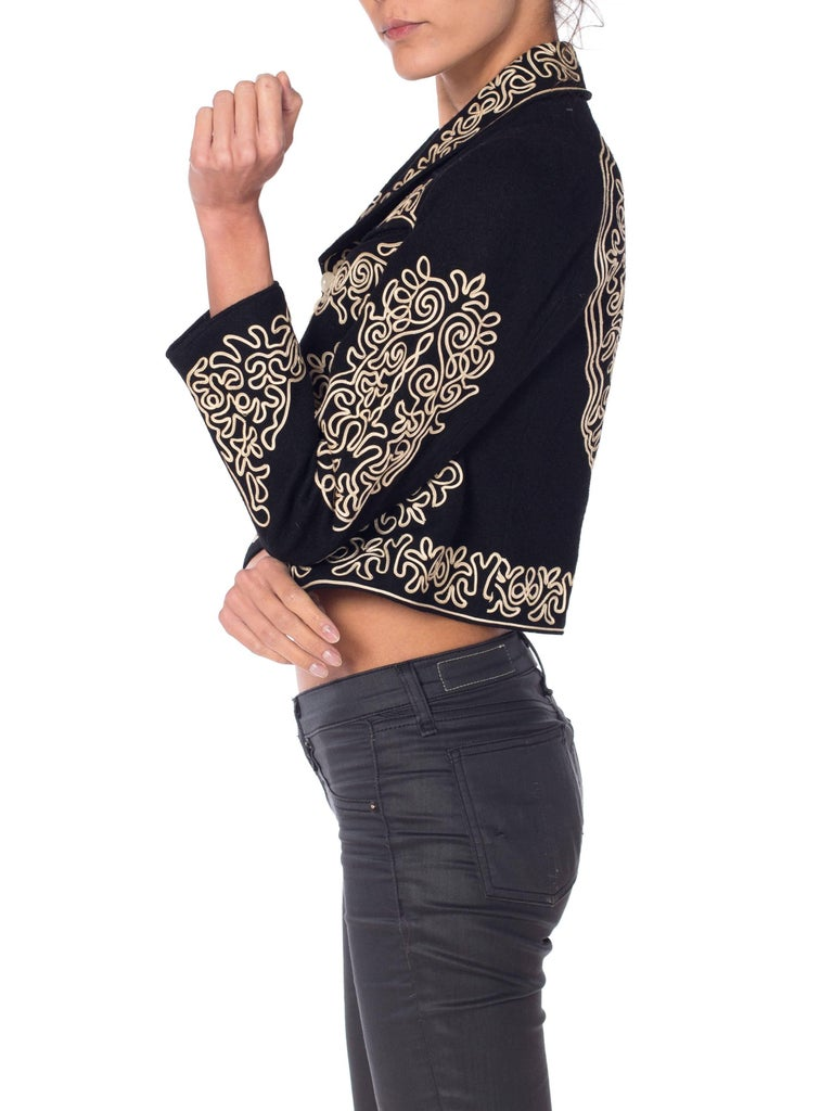1940S Black Wool Mexican Cropped Bolero Jacket With Cream Passementrie In Excellent Condition For Sale In New York, NY