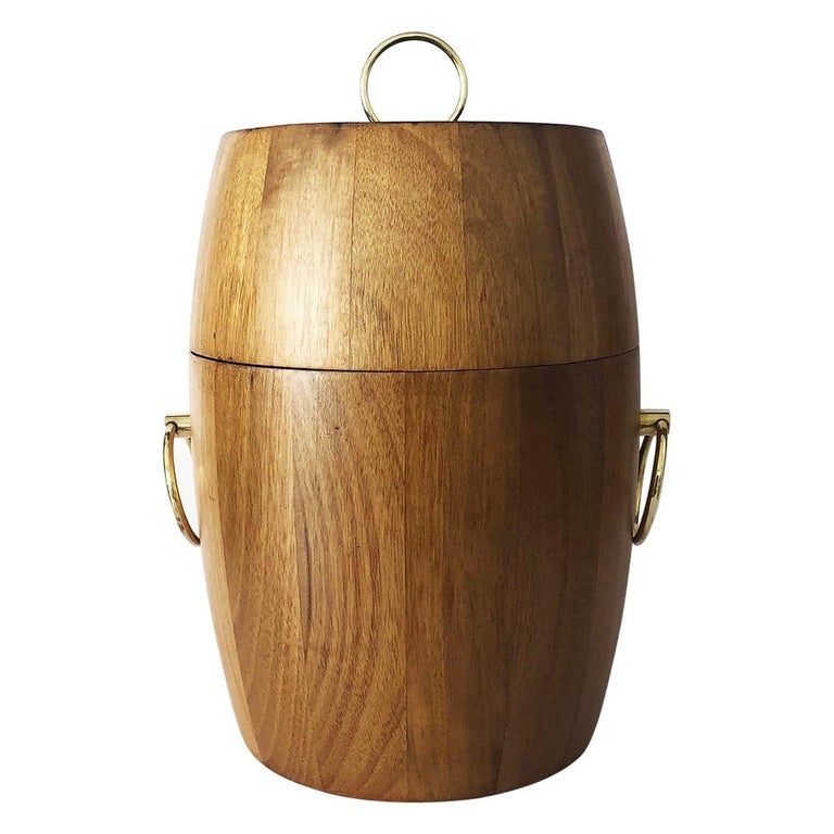 Mid-Century Mexican Modern Ice Bucket Made in Tropical Woods For Sale