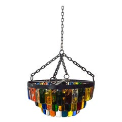MidCentury Mexican Modernist Chandelier by FEDERS, Delfinger 3 Tiers Color Glass