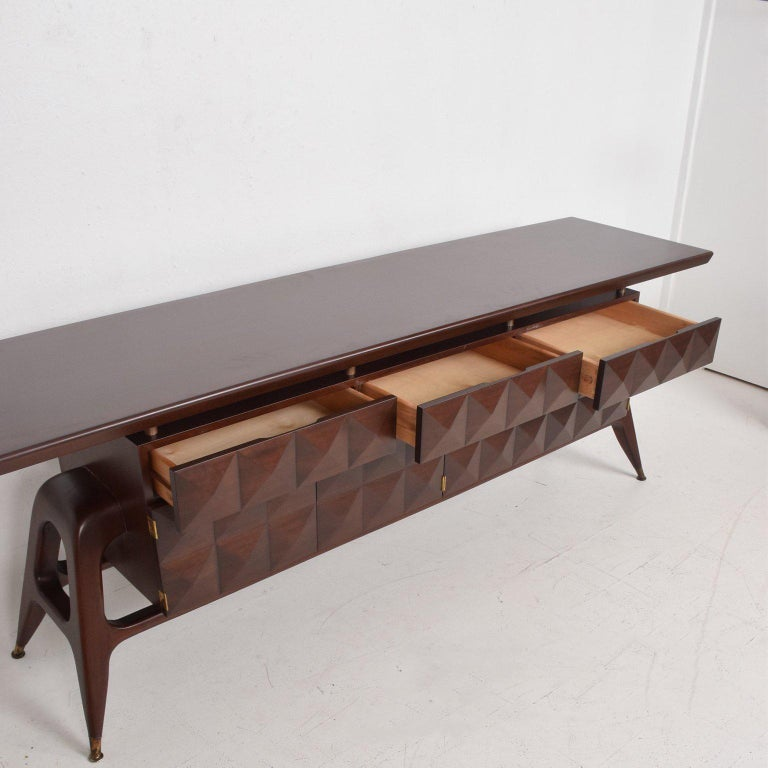 Mid-Century Mexican Modernist Mahogany Credenza In Good Condition For Sale In National City, CA