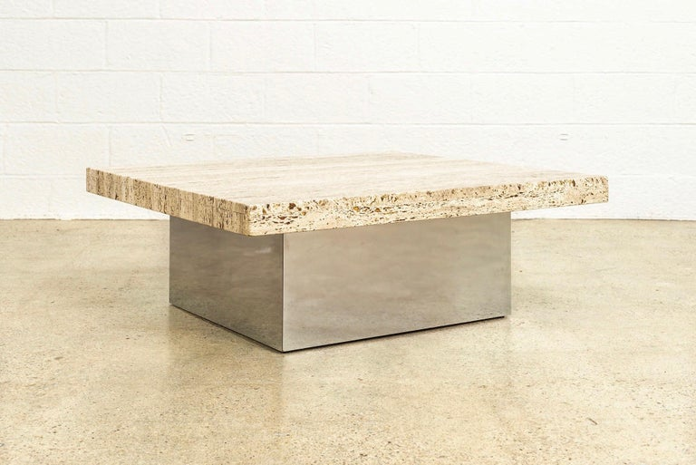 Mid-Century Modern Midcentury Milo Baughman 'Attribute' Stone and Chrome Coffee Table, 1970s For Sale