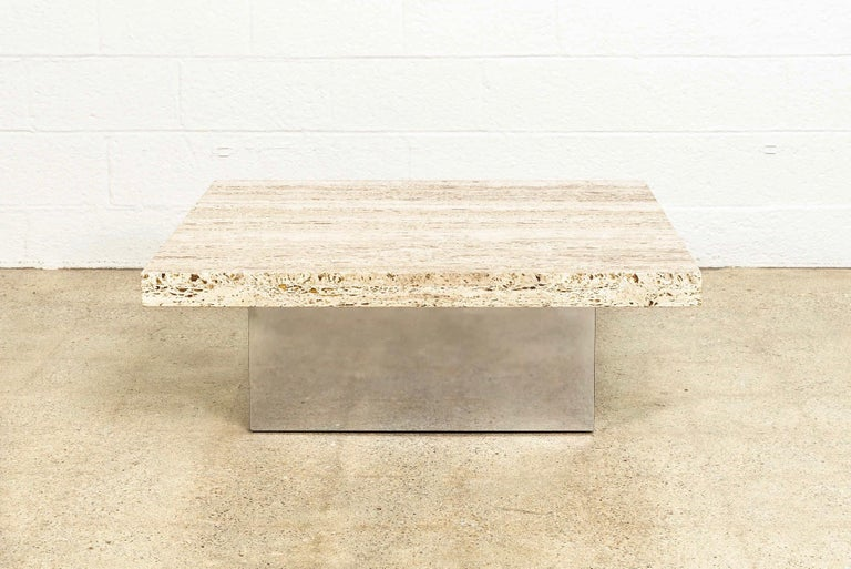 American Midcentury Milo Baughman 'Attribute' Stone and Chrome Coffee Table, 1970s For Sale