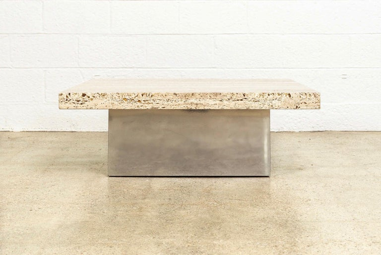 Midcentury Milo Baughman 'Attribute' Stone and Chrome Coffee Table, 1970s In Good Condition For Sale In Detroit, MI
