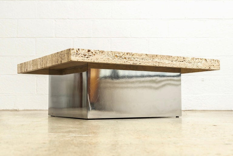 Late 20th Century Midcentury Milo Baughman 'Attribute' Stone and Chrome Coffee Table, 1970s For Sale