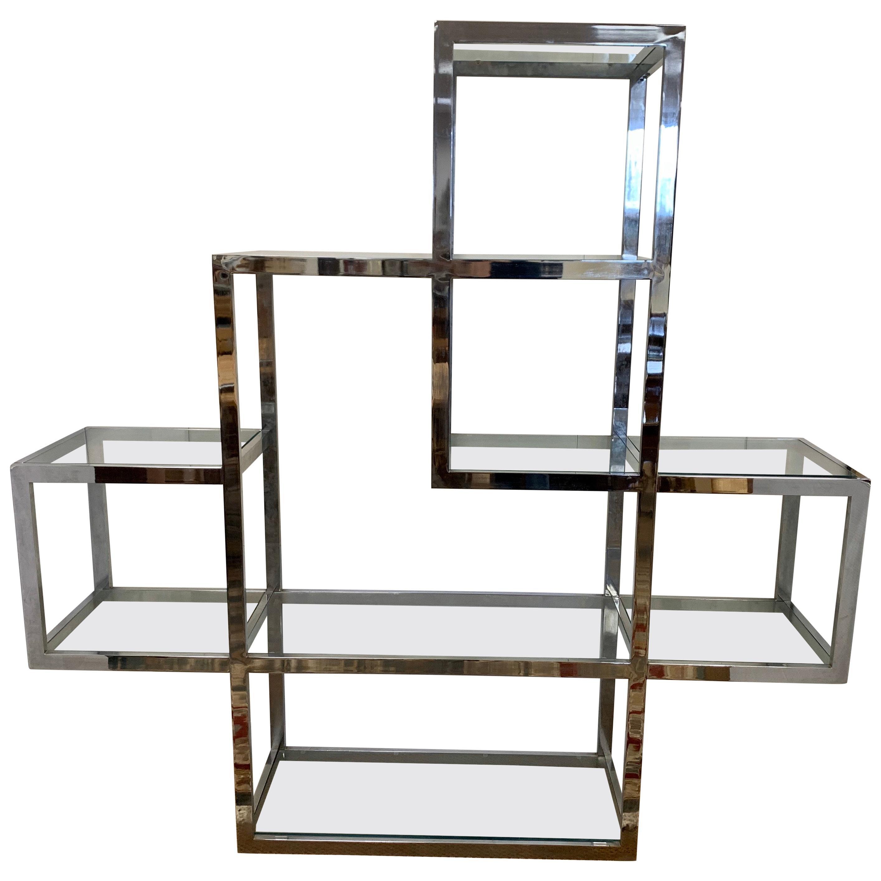 Midcentury Milo Baughman Style Chrome and Glass Large Étagère Shelving Unit