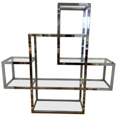 Midcentury Milo Baughman Chrome and Glass Large Étagère Shelving Unit