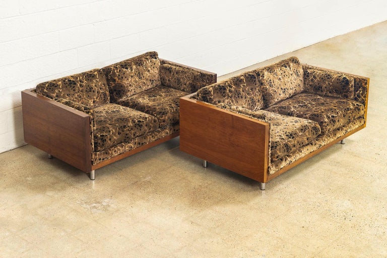 Mid-Century Modern Midcentury Milo Baughman Style Brown Rosewood Box Loveseat Sofas 1970s, a Pair For Sale