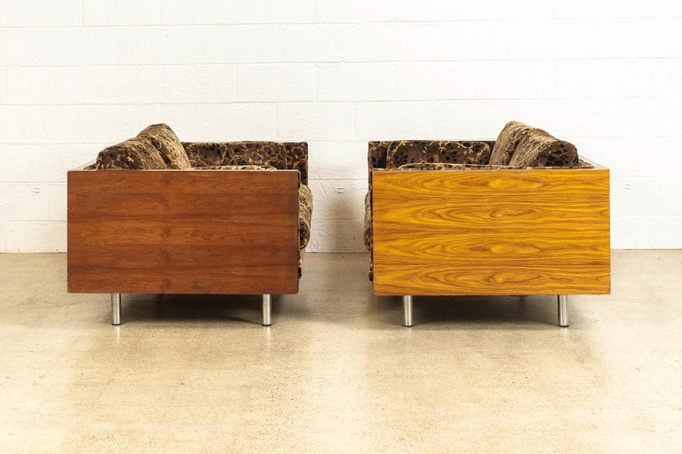 American Midcentury Milo Baughman Style Brown Rosewood Box Loveseat Sofas 1970s, a Pair For Sale