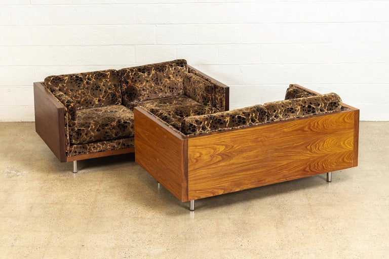 Late 20th Century Midcentury Milo Baughman Style Brown Rosewood Box Loveseat Sofas 1970s, a Pair For Sale