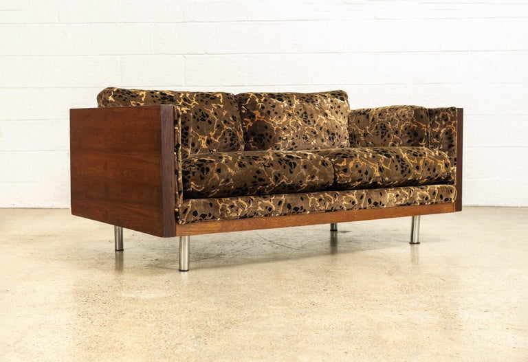 Upholstery Midcentury Milo Baughman Style Brown Rosewood Box Loveseat Sofas 1970s, a Pair For Sale