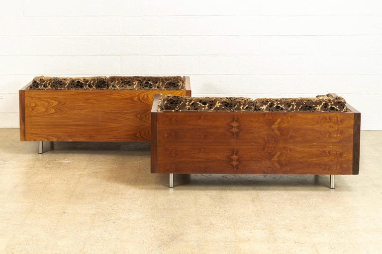 Midcentury Milo Baughman Style Brown Rosewood Box Loveseat Sofas 1970s, a Pair For Sale 1