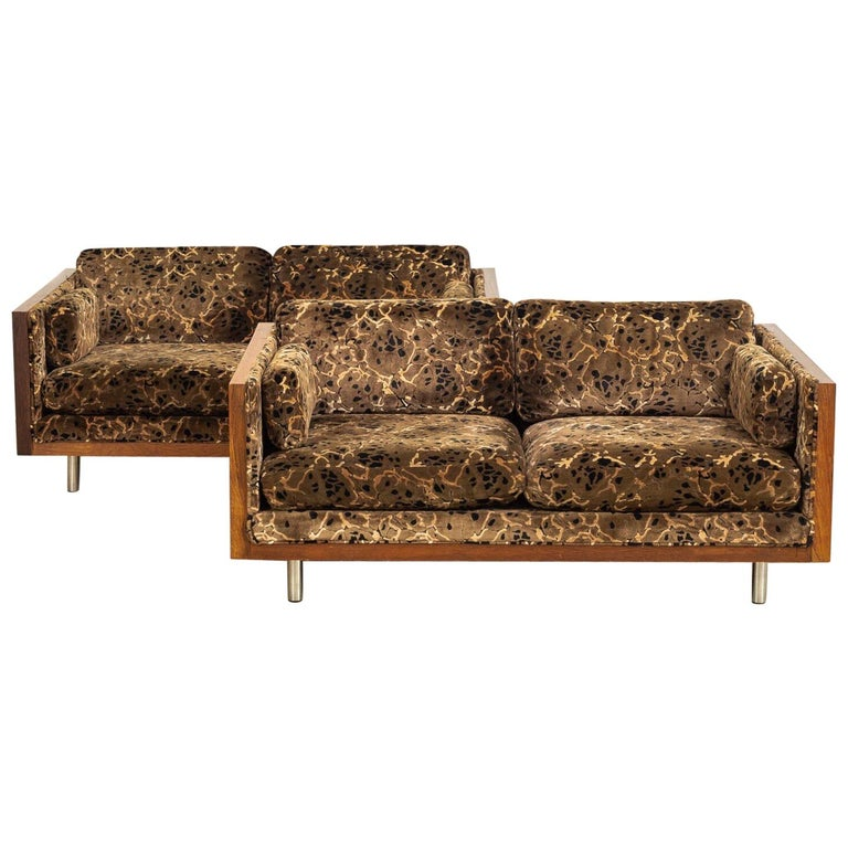 Midcentury Milo Baughman Style Brown Rosewood Box Loveseat Sofas 1970s, a Pair For Sale