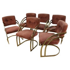Midcentury Milo Baughman Style Cantilever Brass Dining Side Chairs