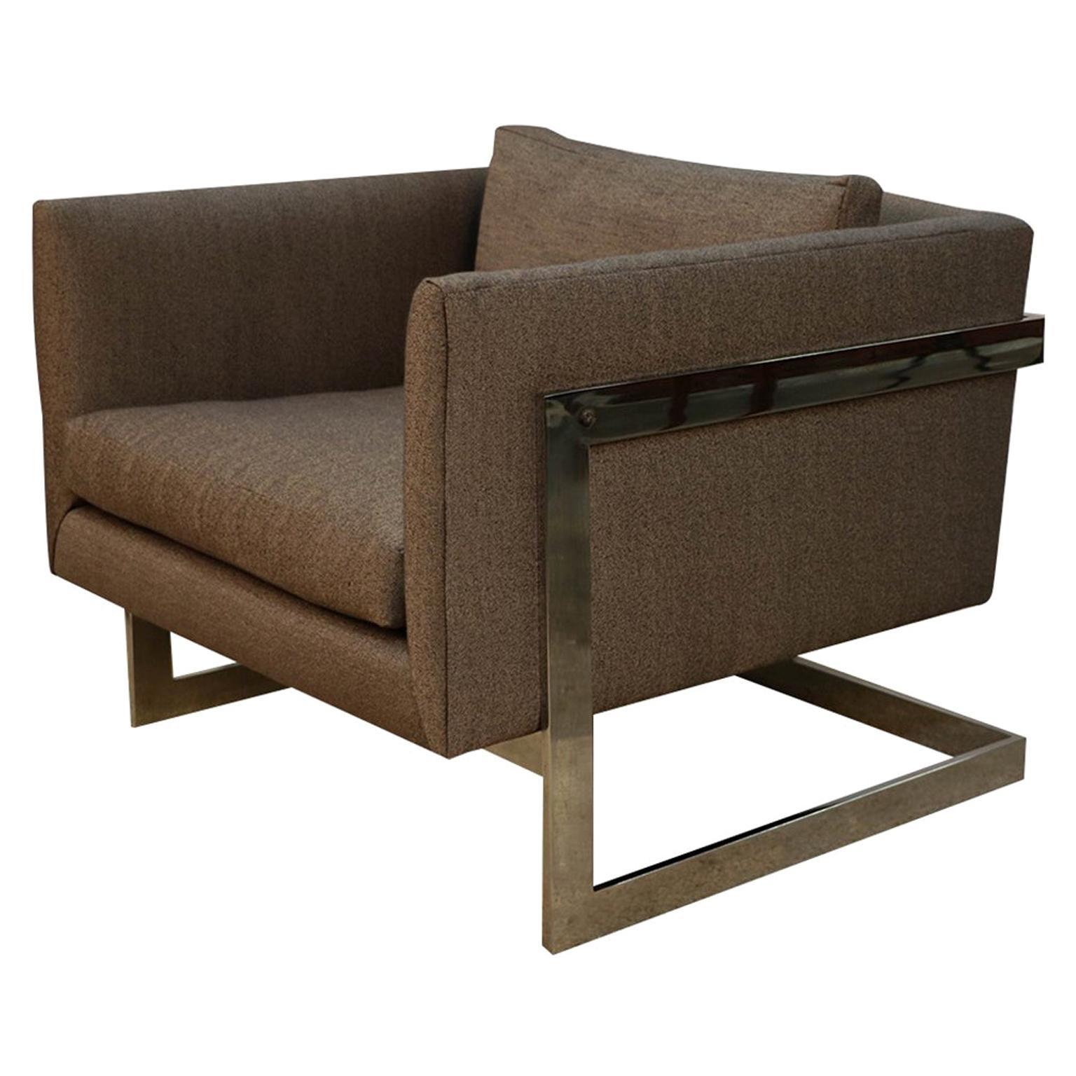 Midcentury Milo Baughman Thayer Coggin Chrome T Back Lounge Chair