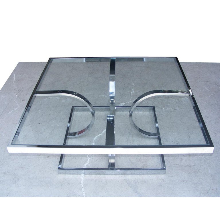 American Midcentury Milo Style Chrome Glass Coffee Table by Design Institute of America For Sale
