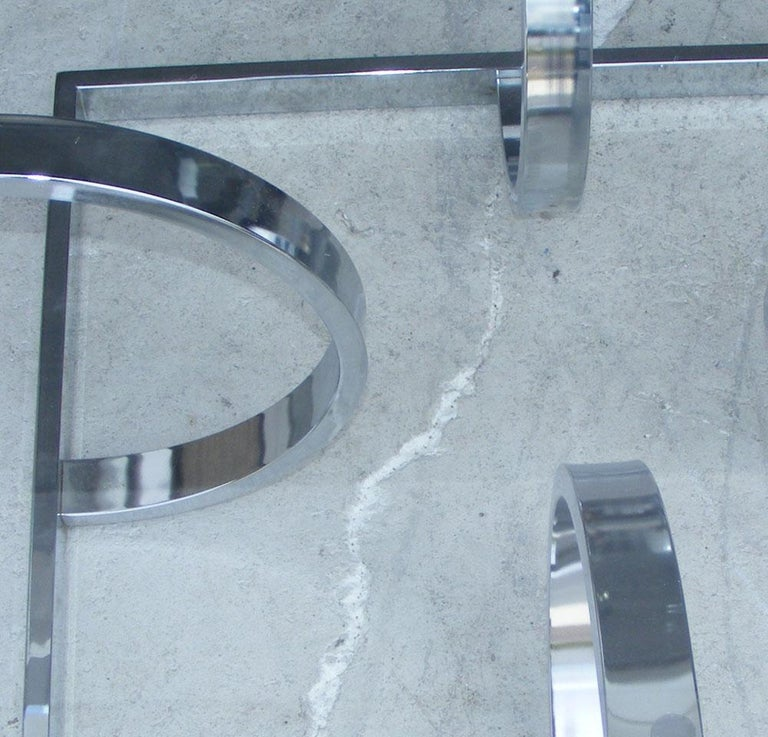 Midcentury Milo Style Chrome Glass Coffee Table by Design Institute of America In Good Condition For Sale In Pasadena, TX