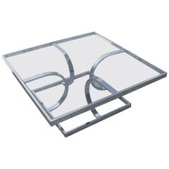 Midcentury Milo Style Chrome Glass Coffee Table by Design Institute of America