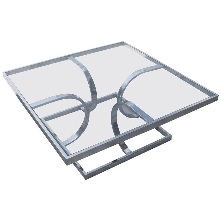 Midcentury Milo Style Chrome Glass Coffee Table by Design Institute of America For Sale