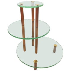 Mid Century Minimalist Fontana Arte 3-Tier Chiseled Glass Bar Table