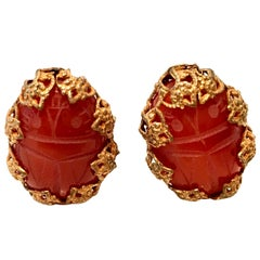 Mid-Century Mirian Haskell Russian Gold Carved Glass Scarab Earrings-Signed